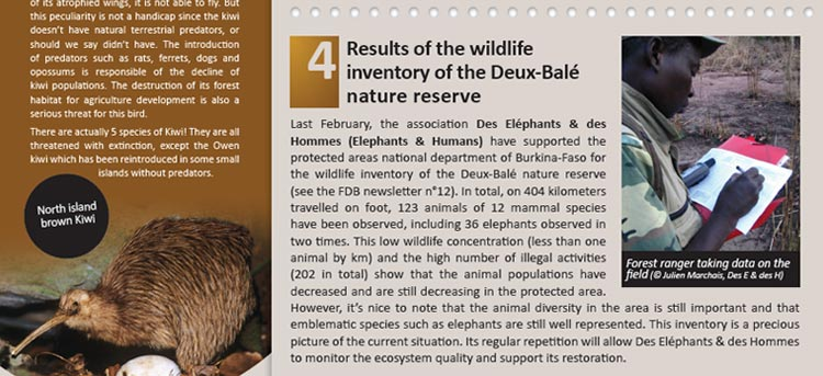 Results of the wildlife inventory of the Deux-Balé nature reserve