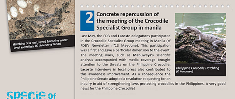 Concrete repercussion of the meeting of the Crocodile Specialist Group in manila 